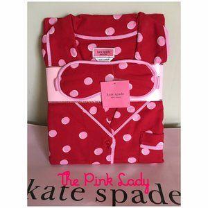 Kate Spade Long Sleeve Pajamas Red Polka Dot SZ S